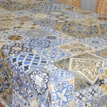 Скатерть ALBA  круг d160см Мозайика син.  6129