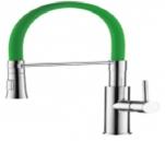 4890K-1 Смеситель для кухни с силиконовым изливом. Латунь. Зеленый+Хром. Accoona
