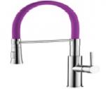 4890S-1 Смеситель для кухни с силиконовым изливом. Латунь. Фиолет.+Хром. Accoona