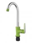 4566K Смеситель для кухни высокий с гайкой. Зеленый. Accoona