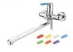 7119 Смеситель для ванны с длинным изливом , силик. смен. ручки 7 шт. Дивертор в корпусе. Латунь.