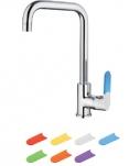 5419 Смеситель для кухни высокий с гайкой , силиконовые сменные ручки 7 шт. Латунь. Accoona