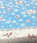 61/2 Клеенка Декомир н/ткан.основа 1,4м*20м Новый год снегири на голубом