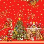 023В Клеенка Dekorama 1,4*20м (Новый год) красная