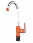 4566P Смеситель для кухни высокий с гайкой. Оранжевый. Accoona
