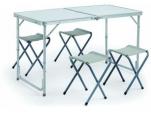 "81-564 Н-р мебели стол ""чемодан""+4 мягких табурета, 120*60*70см, алюминий, WILDMAN 1/1"