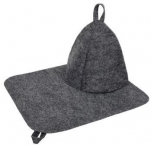 13208 Н-р д/бани из 2-х предметов (шапка, коврик) Классик Серый