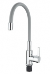9890T Смеситель для кухни с силиконовым изливом. Латунь. Серый+Хром. Accoona