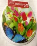 10-38 Крышка д/унитаза Libero Бабочки на тюльпанах