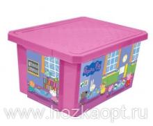 """0023 Детский ящик для хранения игрушек """"X-Box"""" """"Свинка Пеппа"""" 17л (розовый) 1/12 Little Angel"""