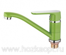 4266K Смеситель для кухни средний нос с гайкой. Зеленый. Accoona