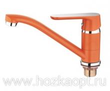 4266P Смеситель для кухни средний нос с гайкой. Оранжевый. Accoona