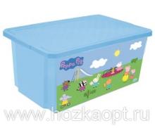 """0025 Детский ящик для хранения игрушек """"X-Box"""" """"Свинка Пеппа"""" 57л (голубой) 1/5 Little Angel"""