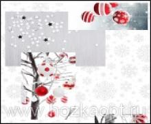 125.1 Клеенка Future 1,4*20м Новогодние игрушки  ПВХ на нетк.осн. с печат.рис.(Италия)