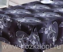 21854-KL  Клеенка с принтом на ткан.основе 1,37*20м (PW73-R057-2/2) Столовые приборы на черном