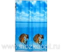 005D1 Шторы д/ванн ПВХ AQUA-PRIME 180*180см Тигры
