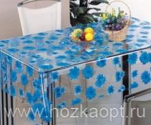 2590В-ТТ Клеенка ORCHID б/основы 1,37*20м (голубые цветы, прозрач.)