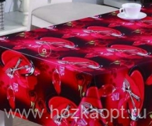 21853-KL  Клеенка с принтом на ткан.основе 1,37*20м (PW73-R057-1/2) Столовые приборы на красном