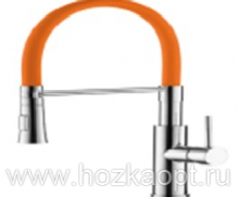 4890P-1 Смеситель для кухни с силиконовым изливом. Латунь. Оранж.+Хром. Accoona