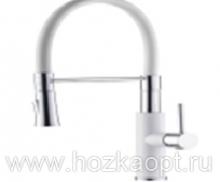 4890GG-1 Смеситель для кухни с силиконовым изливом. Латунь. Черный+Хром+Белый. Accoona