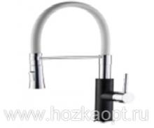 4890FG-1 Смеситель для кухни с силиконовым изливом. Латунь. Черный+Хром+Белый. Accoona