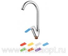 4519 Смеситель для кухни высокий с гайкой , силиконовые сменные ручки 7 шт. Латунь. Accoona
