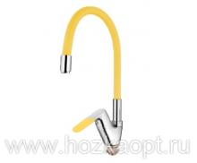 4819H Смеситель для кухни с силиконовым изливом. Латунь. Желтый+Хром. Accoona