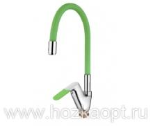 4819K Смеситель для кухни с силиконовым изливом. Латунь. Зеленый+Хром. Accoona