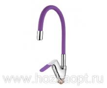 4819S Смеситель для кухни с силиконовым изливом. Латунь. Фиолетовый+Хром. Accoona
