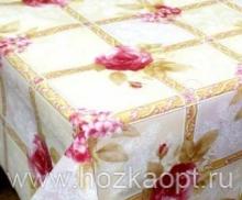 23006 Клеенка ВЕРОНА на нетканной осн.1,37*25м мод. SJ010А крас.цветы на бел.НОВИНКА