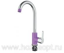 4567S Смеситель для кухни высокий с гайкой. Фиолетовый. Accoona
