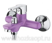 6367S Cмеситель для ванны, с  боковым шаровым переключателем в корпусе. Фиолетовый. Accoona