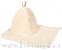 13207 Н-р д/бани из 2-х предметов (шапка, коврик) Классик Белый