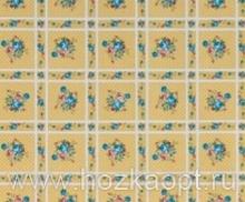 23008 Клеенка ВЕРОНА на нетканной осн.1,37*25м мод. SJ249А гол. цветы на клетке беж.