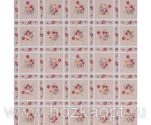 23009 Клеенка ВЕРОНА на нетканной осн.1,37*25м мод. SJ249В роз.цветы на клетке св.роз.