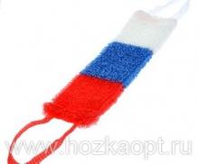 Мочалка Флаг 12*45см (махр.полотно, поролон), жесткая